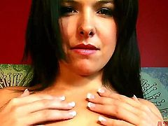 Hot and sexual brunette chick Danica Dillon gonna stay totally bare and have nice masturbation in front of the camera. Watch the cutie undressing and playing with twat.