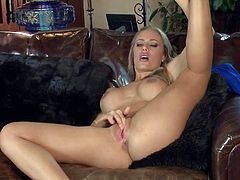 Nicole Aniston is a sexy bodied lady that cant keep her fingers off her pink pussy. She show off her bare ass and sexy boobs while masturbating. She touches her twat over and over again.