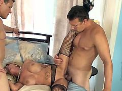 Father and son screw hard a sexy horney blondes wet tight pussy in a hot threesome action