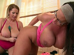 Naughty moms are going kinky in a dirty DDF Network porn clip. They fucks furiously having lesbian sex. Two nasty sluts involve long sex toy to their kinky sex games.