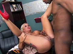Zoey looks damn fine for her age. She's a mom that had a few cocks in her pussy, but she rather prefers those black ones. Here she's with a black hunk and the guy, makes sure that his big thick dong stretches her tight pussy. He fucks her on the desk and then bends the milf to drill her cute butt from behind