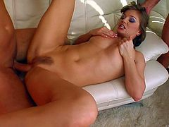 Arousing anal whore Rita with provocative heavy make up takes on two stiff peckers and gets her ass fucked hard until filthy studs cum in her mouth in close up