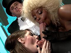 Frizzy blonde hair, hot thighs and a delicious shaved pussy between them Jasmin is being licked by her girl Samantha. She enjoys her pussy lick and then both of the whore start sucking cock. Yeah, they do it with style so let's keep on watching them and see which one will get the most jizz