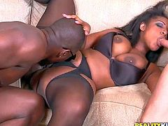 Layla Monroe is a curvy dark skinned woman with amazing big ass. She gets tag teamed by black and white guys in interracial threesome action. Bootylicious Layla Monroe loves their throbbing cocks.