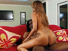 This gorgeous ebony is called Bella Moretti and she's enjoying a hardcore fucking by a big black cock that will end up cumming on her booty after sex.