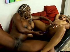 Pornstar sex clip provides you with two gorgeous bright black lesbos. Already naked busty and booty nymphos spin on the couch. These kinky gals are ready to tickle, lick and polish each other's quims with a sex toy. Damn, I've already jizzed!