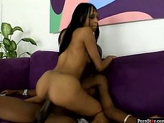 Well, this black nympho is fond of riding a stiff dick and her big ass moves up and down while bitch jumps on the tool. Lewd harlot moans and her tits bounce while strong black dude polishes her wet twat from behind rather tough.
