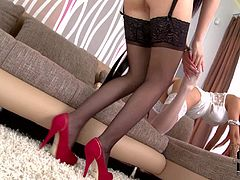 Jessyka Swan is a foot loving lesbian babe dressed in black. Long legged exotic girl in white nylons takes off her stiletto shoes and gets her feet licked by enthusiastic Jessyka Swan.