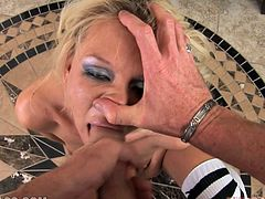 This naughty blond college babe gets naked and starts making this dude feel pretty hot! She takes it in her mouth and then enjoys its cum!