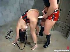 Kym Wilde and Summer Cummings are playing dirty games in some foul basement. Kym humiliates Summe every which way and then drills her twat with a strapon.
