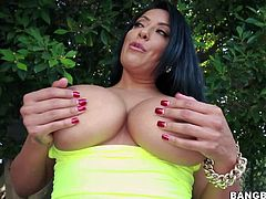 Black haired curvy milf Kiara Mia with gigantic firm hooters and red sexy nails in cheep slutty lingerie gets her round juicy ass oiled and teases in backyard in point of view