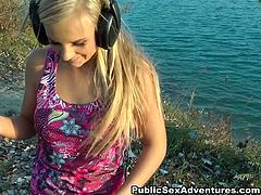 She is adorable blond doll with sexy body. She chills near the river with her BF. Girl gets on her knees between dude's legs giving him awesome blowjob in POV.