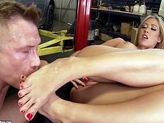 Aroused dude enjoys sucking pedicured feet of seductive blond whore before she uses them to rub his strain penis in sizzling hot sex clip by 21 Sextury.