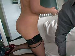 Sexy ass blonde honey Ally Kay in her sexy black lingerie, stockings and heels enjoys in getting her shaved taco rammed pretty hard and good from behind in doggy pose