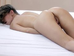 Young Mika likes pinching her clit during her naughty and wild solo masturbation