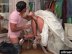 Blonde bride having her tight ass smashed with a massive dildo