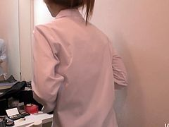 Peppering Japanese student in flirty college uniform seduces her group mate right in the auditorium. She gets half-naked in front of him before she kneels down to mouth fuck his strain dick.