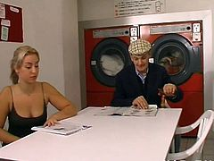 This French whore had some laundry to do, but while waiting she had a great ass fuck with two of the men in there.