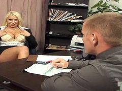 Big-breasted blonde Candy Manson is getting naughty with a horny man. She drives him crazy with an incredible blowjob and then they have sex in cowgirl position.