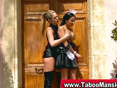 Check out this hot blonde lesbian dominatrix having fun with her maid outdoors. She toys her butthole for a deep anal orgasm!