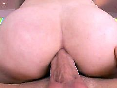 Black haired slutty Angell Summers with french manicure and gets huge rock hard cock up her big round ass by her wild lover and does ass to mouth in close up.