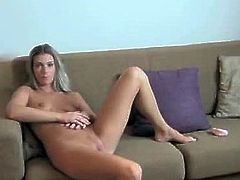 This super sexy and horny babe gets naked and sucks that huge cock. She blows it and then gets that huge cock deep in her tight pussy.