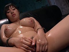 Mind taking curvy Japanese hoe with oversized milky tits rubs her bearded vagina with massage oil before she inclines to suck a stiff penis while getting her beaver tickled with vibrator in steamy sex video by Jav HD.