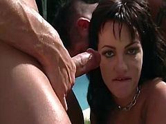 Hot and horny pornstar enjoys huge dicks smashing her holes in outdoor gangbang porn