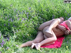 Dude and his hot Russian babe having sexy time in the wild. As girl lies on her side all naked dude fucks her tight wet pussy from behind balls deep.