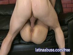 Check this provocative brunette Latina slut getting her tight cooch drilled on the couch in this hot hardcore video.