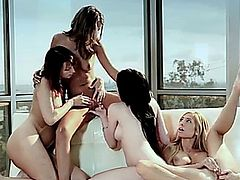 Scorching hot lesbian babe foursome.