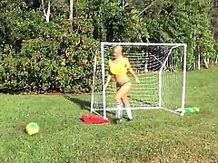 Blonde chick Molly Cavalli and her brunette girlfriend Tiffany Tyler start spending great time in lesbian fun after playing soccer for a while! See gals licking on the soccer field