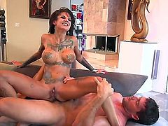 Tattooed brunette whore Bonnie Rotten with round fake tits and sexy pink nails spreads long legs and gets her tight ass demolished by randy Ramon Nomar in living room.