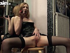 Dirty-minded chick with straight light hair goes solo. She sits onto the chair stretching legs wide and enjoys fingering her wet pussy passionately for multiple orgasm. If you're seeking for satisfaction you surely need to check out this Fun Movies sex clip.