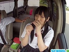 Watch an alluring and intense Japanese schoolgirl getting tied up and fucked in a van without her sleeping companion even realizing what's happening.