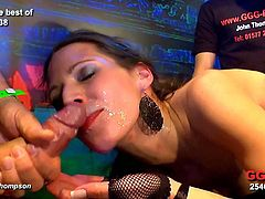 Cock addict slut takes two or three cock at the same time in her mouth. they fuck her mouth, jerk off and cum all over her face.