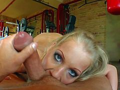 Smoking hot blonde slut with perfectly shaped hooters and heavy make up suck balls and meaty cock in close up and gets her tight ass boned in point of view