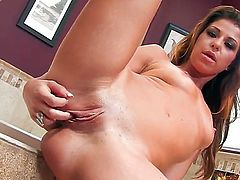 Mia Gold with tiny tities and trimmed beaver gets naked and masturbates with toy