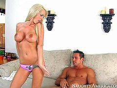 Glamorously beautiful blonde Nikki Benz with huge round boobs is his sisters super sexy friend. Gorgeous busty chick turns him on. She bare her boobs and he puts his hard dick in her mouth.