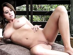 Chrissy Marie with giant melons and smooth bush is curious about stripping on cam