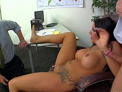 Ryan Mclane and Jimmy Broadway enjoy in getting their hands on a dirty tattooed and pretty seductive brunette honey with craving for hard rods in her mouth