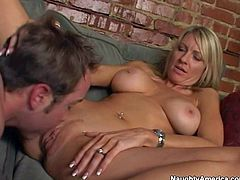 Hot and arousing pornstar milf Emma Starr enjoys in a passionate couch sex session with Will Powers and gets her shaved beaver licked really good in front of the cam