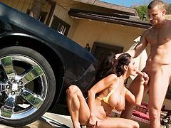 Ava is a big boobs milf, who loves to do naughty stuff and decides to wash her car in erotic way. She rubs the car and intentionally makes herself wet, so that she can seduce her guy, whose dick is already hard, seeing those wet nipples. She kneels down, sucks it and moans, while getting pounded.