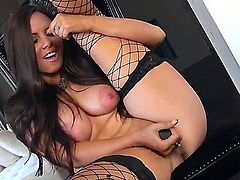 Attractive turned on brunette Alektra Sky with big natural knockers and and long whorish nails in fishnet stockings and leather boots stuffs her shaved minge in close up while teasing.