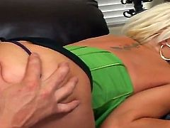 Blonde Candy Manson with giant hooters and bald cunt gets wildly fucked in her mouth by Billy Glide