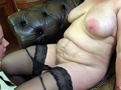 This mature slut is only in her stockings and letting this sexy babe to lick her hard nipples on the top of her huge boobs just after kissing her. The horny girl uses her tongue, lips and fingers to probe the deepest parts of mature woman and she hope she will get the same from her. Watch!