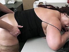 Bored from her daily office task, this plum yet pretty brunette babe tease her handsome and well hung co-worker who in an instant pull down his pants to have his cock suck then the fat bitch bend over to get some hardcore doggy fucking.