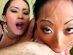 Gaia and Jessica Bangkok feel like they are drowning in Jonni Darkkos hard and huge cock