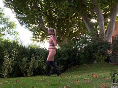 Rapacious dude gives bad times to peppering blond whore. He bandages her with leather belts and shots her mouth with a plug in peppering BDSM-styled sex clip by DDF Network.