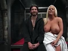 Kinky Holly Sweat gives a blowjob and a titjob to tied up guy. After that he gives a blowjob to this tranny and gets pounded in the ass.